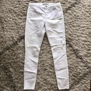 Topshop Moto Leigh white ripped skinny jean